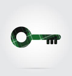 Green black tartan isolated icon - key vector