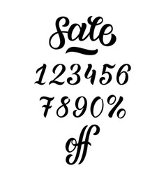 hand-drawn sale lettering with percents off vector image