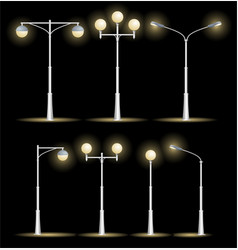 lanterns street set night vector image vector image
