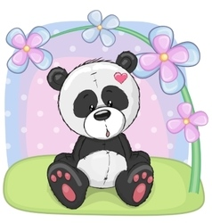 Panda with flowers vector image vector image