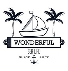 sailing icon sea life design vector image