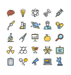 science research color flat thin line icon set vector image