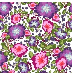Seamless pattern of small bouquets pink and blue vector
