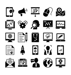 seo and marketing solid icons 4 vector image vector image