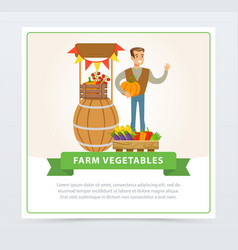 smiling man farmer character sells fresh farm vector image