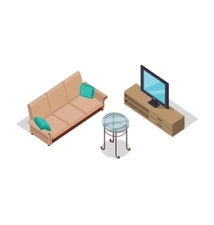 Sofa and lamp isometric design vector