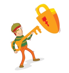 thief and padlock vector image vector image