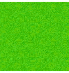 Thin Line Nature Garden Green Seamless Pattern vector image vector image