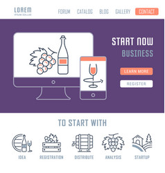 website banner and landing page startup vector image
