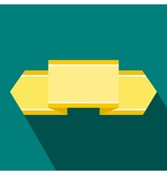 Yellow ribbon icon flat style vector image