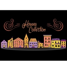 Houses in a row color vector