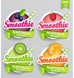 Set sticers smoothie with ribbon vector