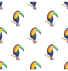 Watercolor seamless pattern with toucans vector