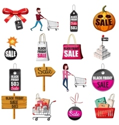 Black friday sales icons set cartoon style vector