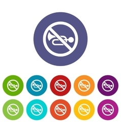 No horn traffic sign set icons vector