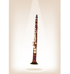 A musical clarinet on brown stage background vector