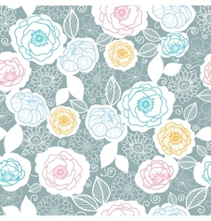 Silver and colors florals seamless pattern vector image