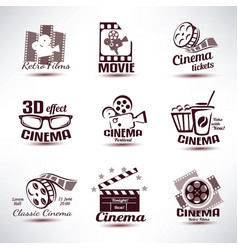Cinema symbols and retro emblems collection vector