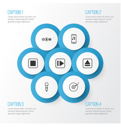 Audio icons set collection of extract device vector