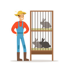 smiling farmer standing next to rabbit cages vector image