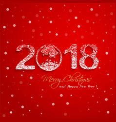 2018 new year with snow effect on red background vector