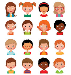 Set of avatars of different boys and girls vector image