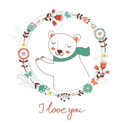 I love you card with polar bear vector