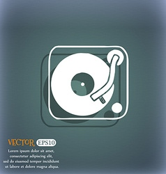 Gramophone vinyl icon symbol on the blue-green vector