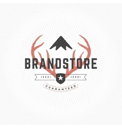 Hand drawn deer horns logo vintage style vector