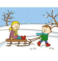 Children playing with a sled in the snow vector
