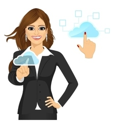 Businesswoman touching the cloud vector