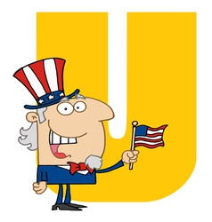 Letter u with uncle sam vector
