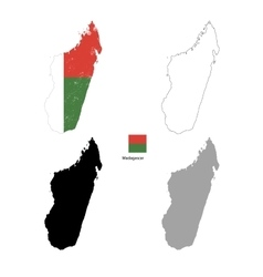 Madagascar country black silhouette and with flag vector