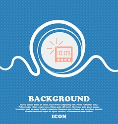 Digital alarm clock icon sign blue and white vector