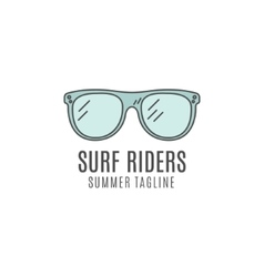 Minimalistic surfing glasses logo concept summer vector