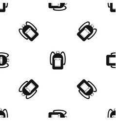 Backpack pattern seamless black vector