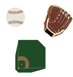 Baseball field ball and glove vector image vector image