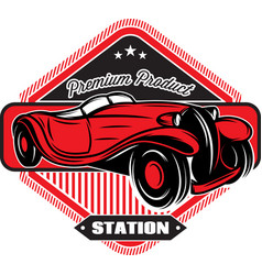 Black badge with red retro car and inscriptions vector