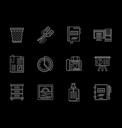 business accessories flat line icons set vector image
