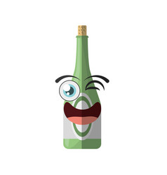 Cartoon bottle drink party wink vector
