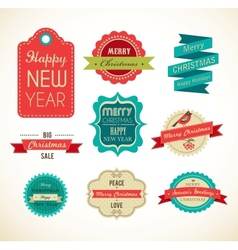 Christmas vintage labels elements and vector image