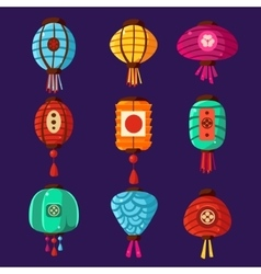 Colourful Lanterns Set vector image
