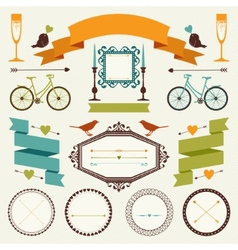 Decorative set of holiday objects and signs vector
