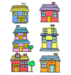 Doodle of house style various set vector