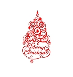 Fir tree christmas red line on a white background vector image vector image