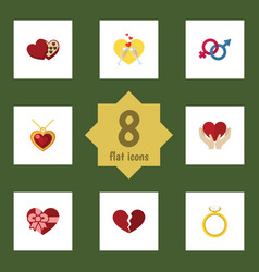 Flat icon love set of engagement sexuality symbol vector