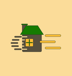 Flat icon stylish background wind destroys house vector