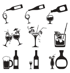 glass and bottle set vector image vector image