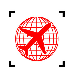 Globe and plane travel sign red icon vector