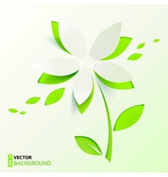 Green paper cutout flower vector image vector image